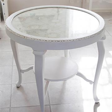Romantisk rundt bord, hvid   pipi antik