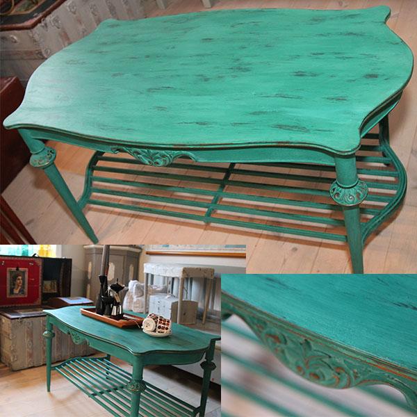 Romantisk bord - grønt i slidt look - Pipi Antik