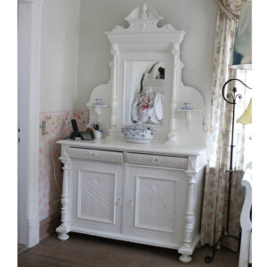 Hvid buffet med spejl 129x54x90cm