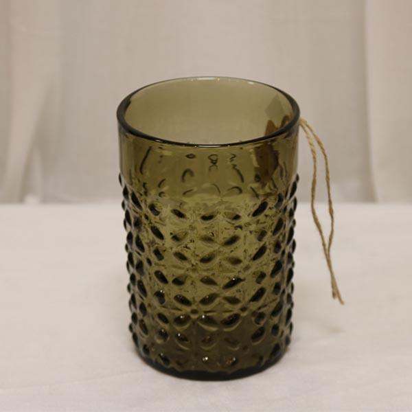 Hellstrand olivenfarvet glasvase - høj