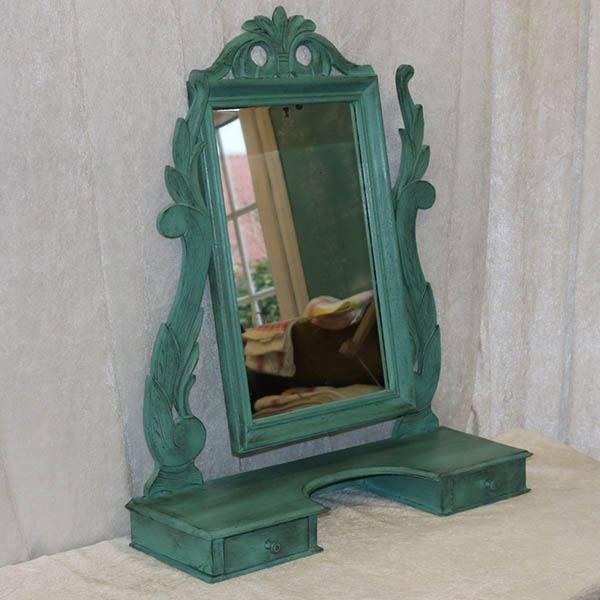 Tyrkiggrønt bordspejl - pigtittare 59x19x71cm