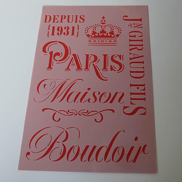 Stencils French elements Paris A4