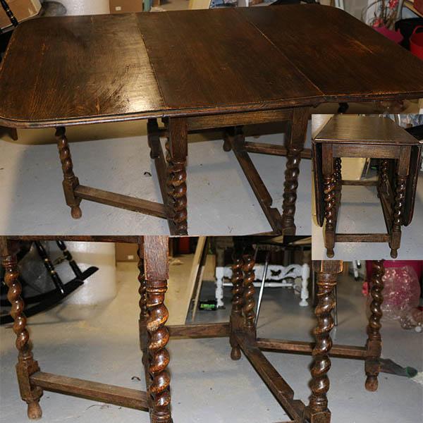 Svensk klapbord med snoede ben