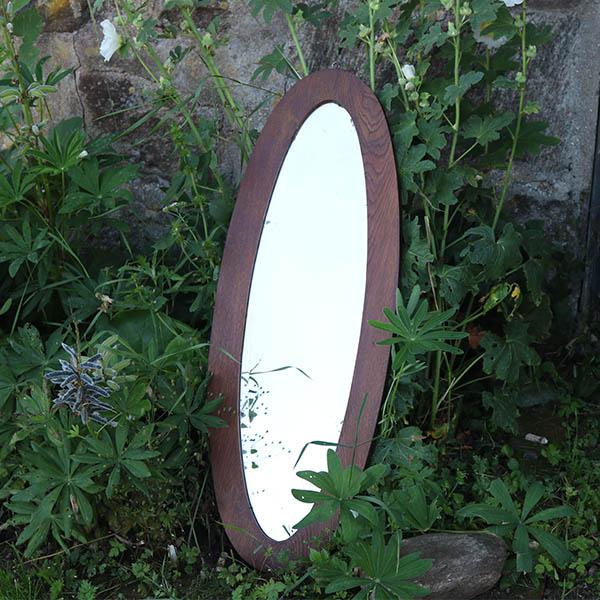 Ovalt eg facetslebet spejl