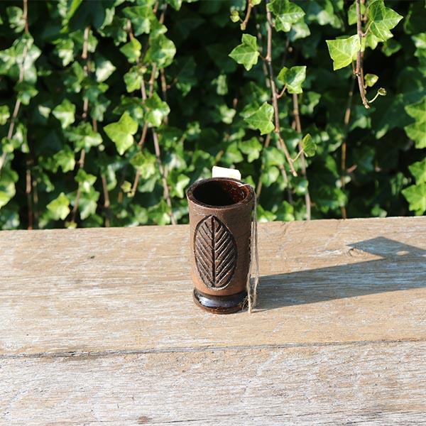 brun-keramikvase-bladmønstret -laholm-2505-11-cm