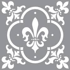 Americana decor stencils Fleur de Lis Tile