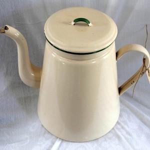Emalje kaffekande XL Madam Creme grøn