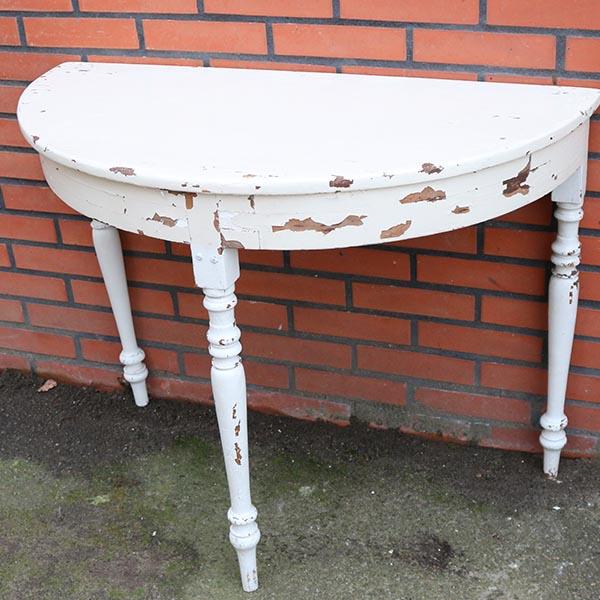 Halvbord i hvidt med meget patina 94x48x73 (11a)