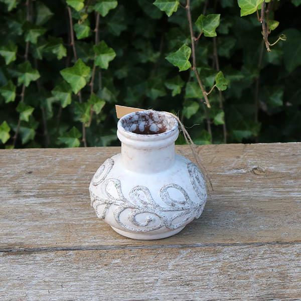 Buttet beige vase - lille