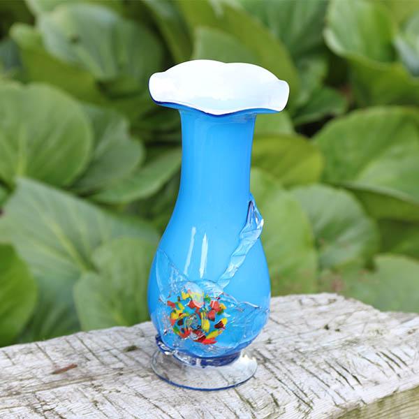Blå roset glasvase - 21 cm