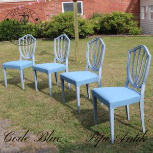 Code blue stole mix malet på stof B48xD42xH90,5 sædet 45 cm
