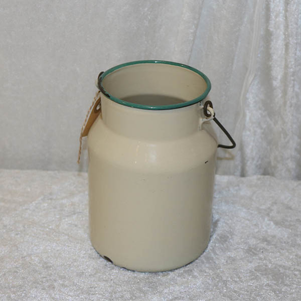 Emajje mælkespand uden låg cremefarvet Ø24