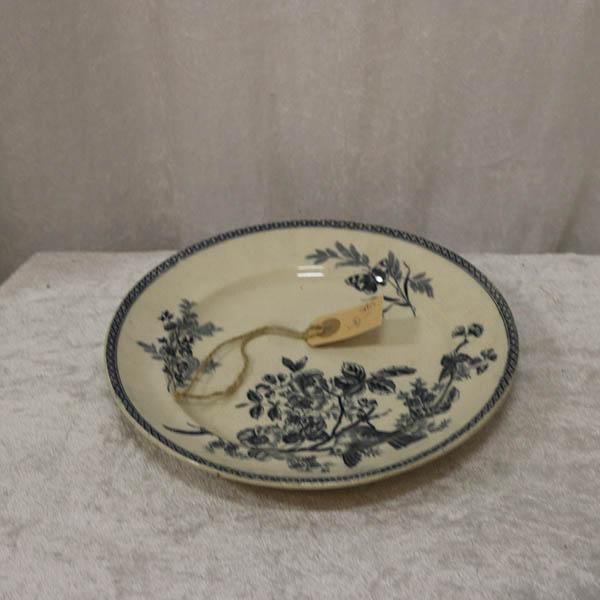 Flad tallerken - råhvid blå Ø 24