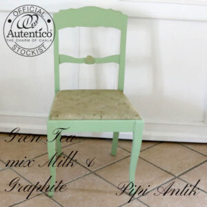 Green Tea mix spisebordstole romantisk med guld rosetter B47xD42xH89 sædet 46 cm