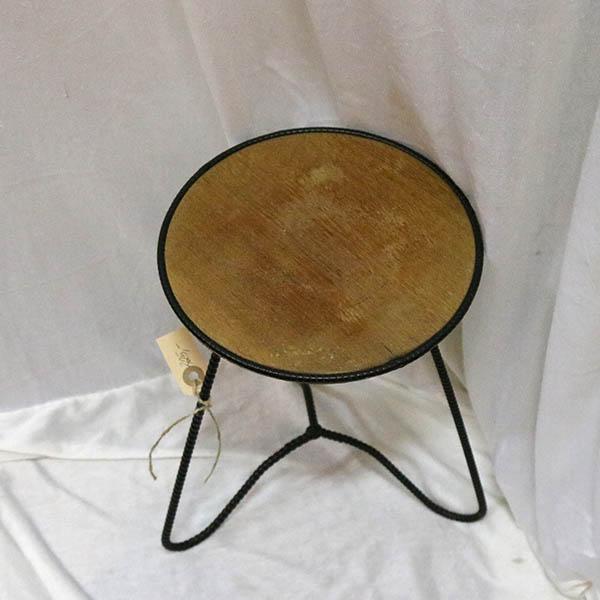 Metal teakbord opsats- Ø 23x32 cm høj