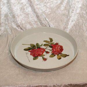 Serveringbakke metal med roser