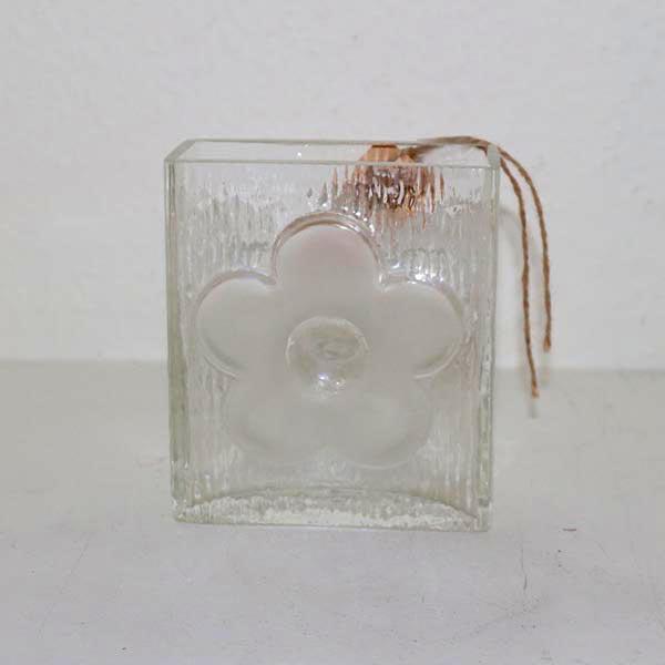 03 Retro blomst glasvase 11 x 5 x 12 cm