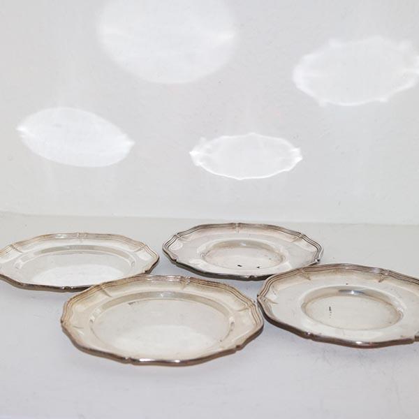 11 Sølvplet små tallerkener ass Ø 14 cm
