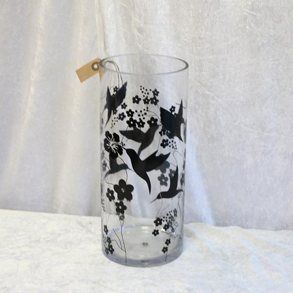 12 Glasvase stor - med sorte mønster Ø 15 x 35 cm