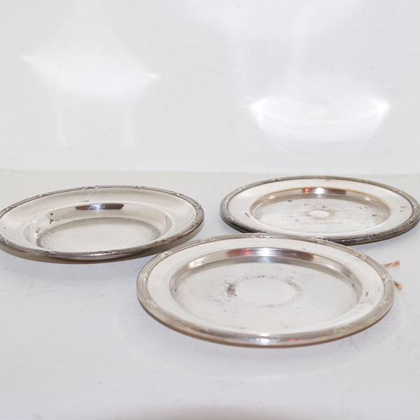 12 Sølvplet små tallerkener 3 stk Ø 15 cm