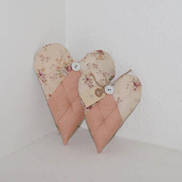14 To romantiske hjerter håndarbejde 19 cm