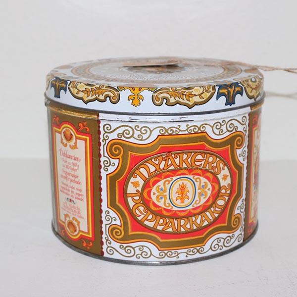 19 Kagedåse retro orangemønstret Ø 18 x 14 cm