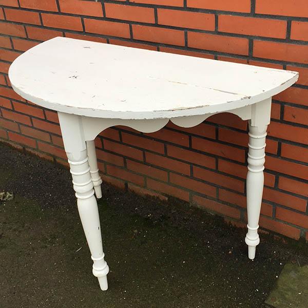 2 Romantisk halvbord - hvid med patina