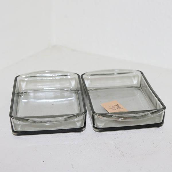 20 Retro grålig glasfad - 2 stk 16x9,5 cm