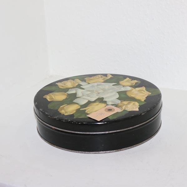 25 Sort kagedåse med gule roser Ø 22 x 5 cm