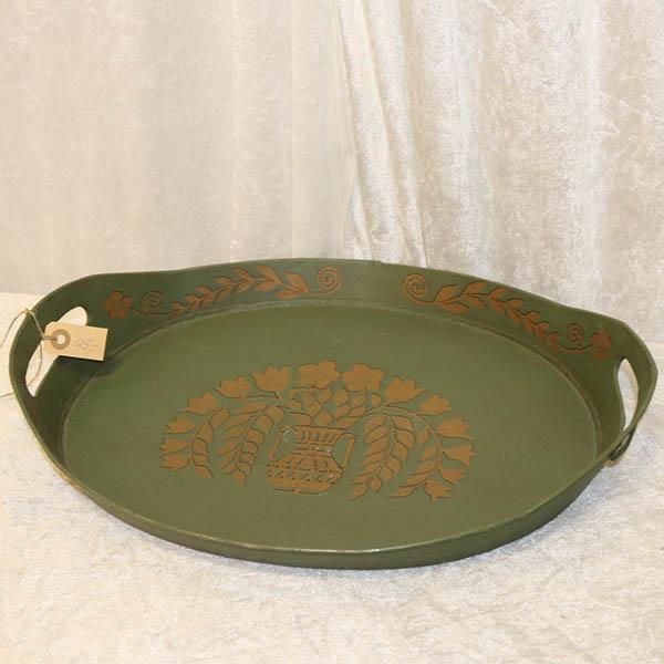 52 Grøn metalbakke 46 x 34 x 4 cm