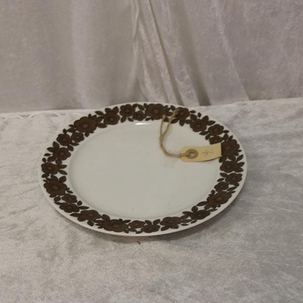 9 Retro tallerken fad med brune blomster Ø 25 cm