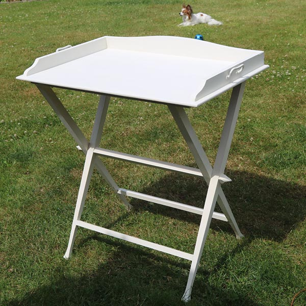 Egetræ bakkebord - med flotte jugend ben i hvidt