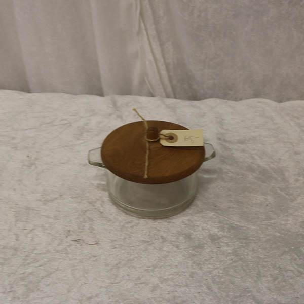 Glasskål med teak låg Ø 13 x 10 cm i højden