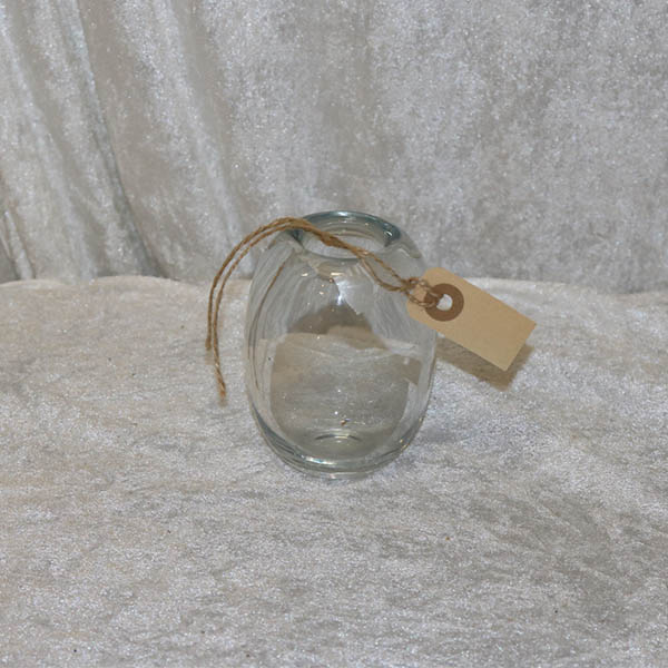 Miniput klar glasvase - buttet Ø 8 x 11 cm høj
