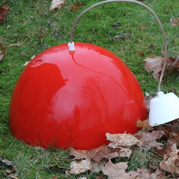 Retro orangerød metal loftlampe - stor