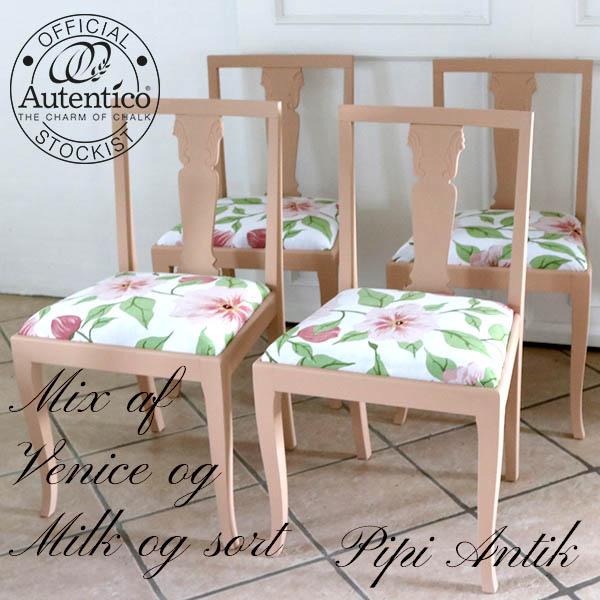 Romantiske stol i mørk laksefarvet Mix Venice Autentico B47xD40xH82 sædet 46 cm