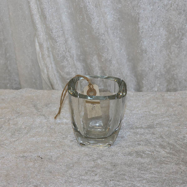 Tyk lille klart glasvase 10 x 18 x 10 cm høj