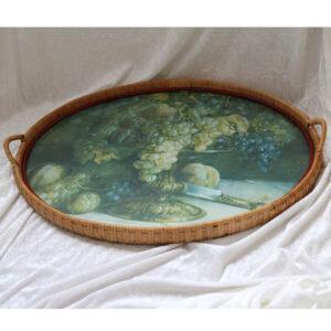 22 Retro flettet bakke med glasplade 55 x 41 cm