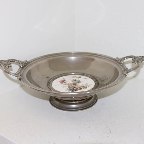 Sølvplet opsats med keramik pynt Ø 25 x 8 cm
