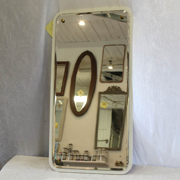 Hvidmalet teak facetslabet spejl 38x73 cm