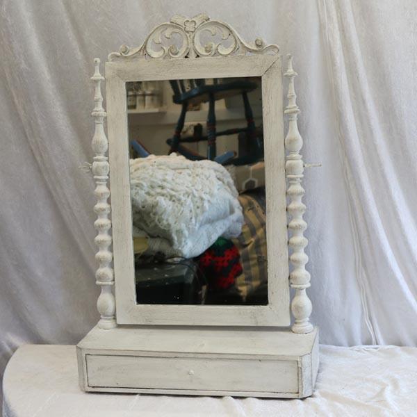 Pigtigtare spejl i hvid og sortvokset