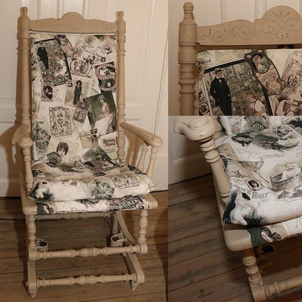 Vippe gyngestol - kakifarvet med romantisk betræk 63 x 55 x 120 cm