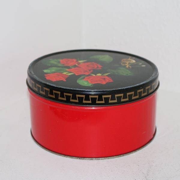 Rød rose dåse Ø18,5x10 cm