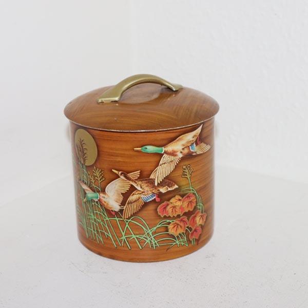 Beige brun dåse med dyrmotiv Ø 12 x 15 cm