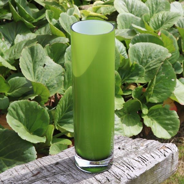 Retro grøn hvid glasvase Ø 8 x 30 cm