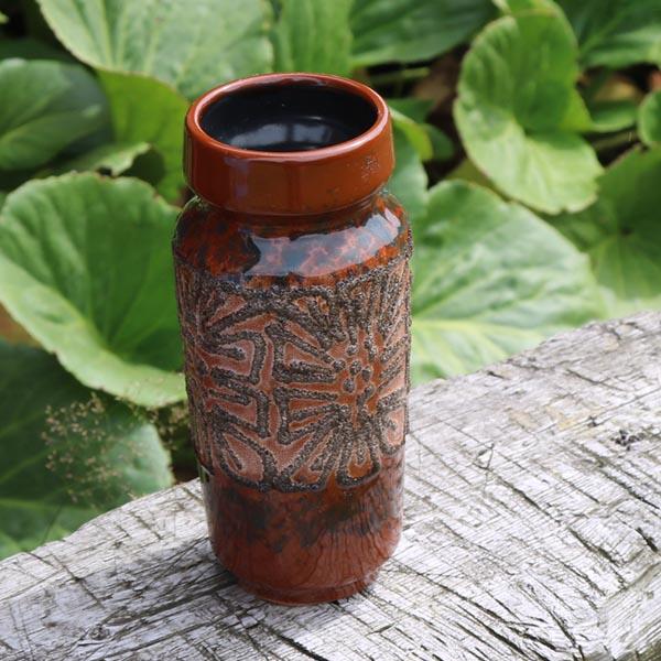 West Germany vase Ø 7 x 18 cm - brunlig nuancer