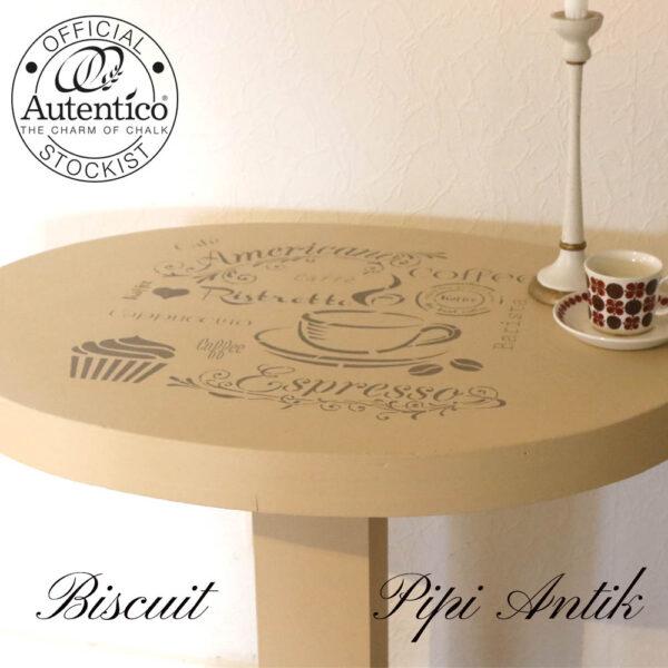 Biscuit cafebord med Cafe stencils i Latte Autentico kalkmaling