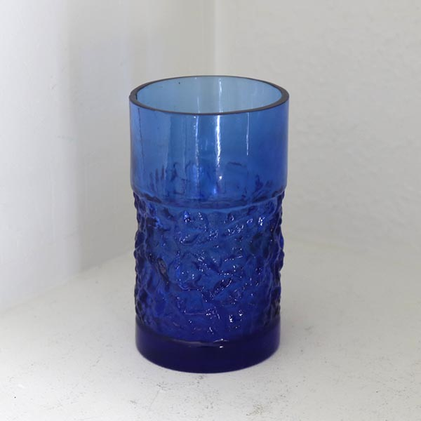 Koboltblå retro glasvase Ø 6,5 x 8 cm