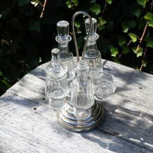 Bord olie- eddikesæt i glas og krom Ø 14 c H 14 cm