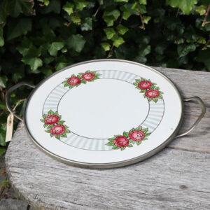 Krom og porcelæn serveringsbakke med roser Ø 30 cm